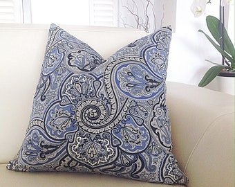 Paisley Cushions, Blue and White Paisley Cushion Cover Hampton's Style Pillows, Paisley Cushions, Paisley Pillow, Cushion Cover.