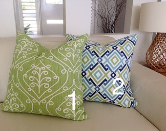 Green & Blue Pillows Diamond and Barcelona Modern Design Cushion Covers Toss Pillows Decorative Pillows. Modern Cushions