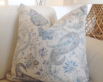 Hamptons Style Cushions Natural Paisley Cushion Cover, Bluewater Paisley Cushion Cover, Floral Pillows. Floral Cushions, Scatter Cushion.