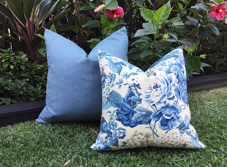 Hamptons Outdoor Cushions Floral Outdoor Pillows Cover Only Hampton S Style Blue Floral Cushions Blue Outdoor Pillows Garden Party