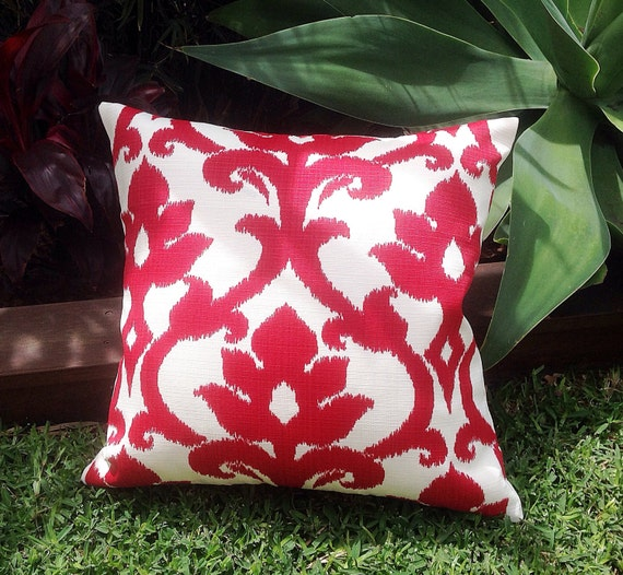 Red White Outdoor Cushions Ikat Outdoor Pillows Red Outdoor Etsy