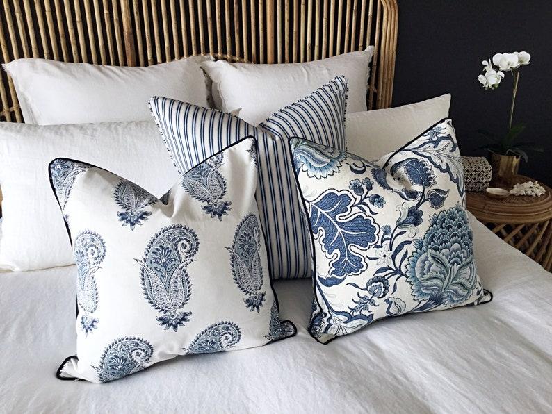 Hamptons Style Cushions Linen Cushions Jacobean Pillows image 0