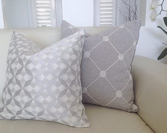 Silver Grey Cushion Covers, Grey  Pillows, Cushion Cover, Grey Cushions, Fanfare Modern Scatter cushions, Throw, Toss Pillows