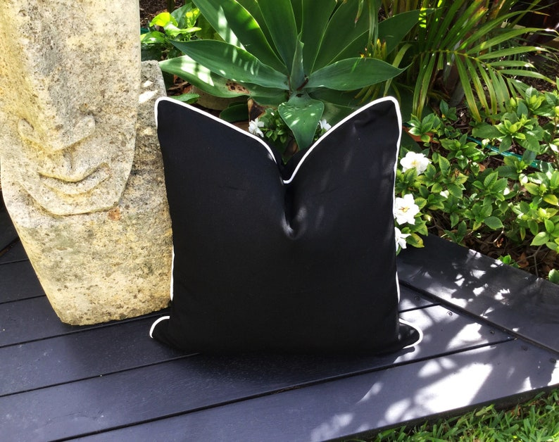 Sunbrella fabric Black and White Outdoor Pillows Modern Scatter Cushions Black Outdoor Pillows Pillow Cover Only Outdoor Cushions