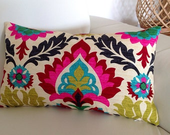 Desert Flower Lumbar Pillow Colourful Bright Medallion & Desert Flower Cushion Designer Style. Bedroom Cushions, Lounge Cushions