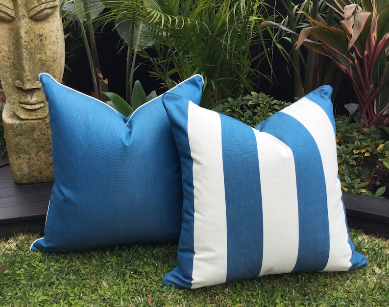 Blue And White Striped Outdoor Cushions Sunbrella Outdoor Etsy