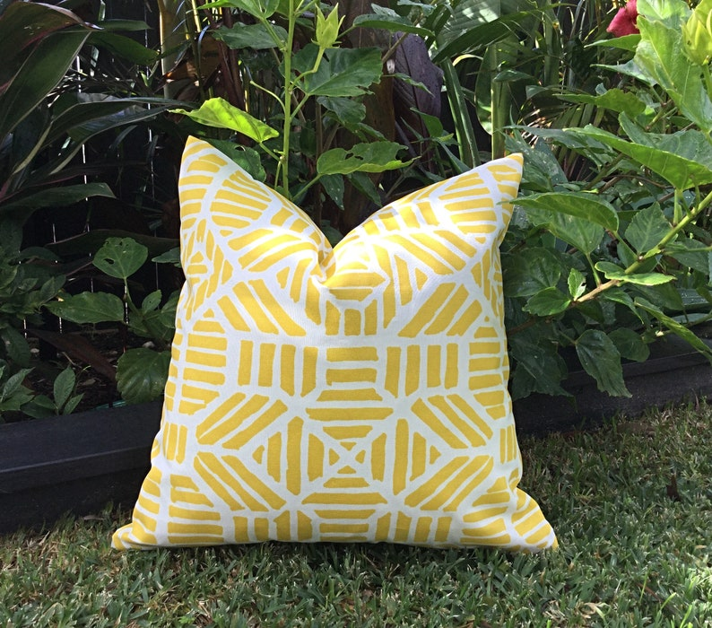 Outdoor Cushions Yellow Outdoor Pillows Cushion Cover Only Ribble Pillow Cover Turquoise Outdoor Modern Outdoor Cushion Retro Pillows