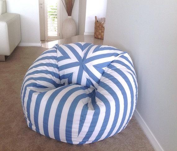 Bean Bag Coastal Blue And White Stripes Bean Bag Cover