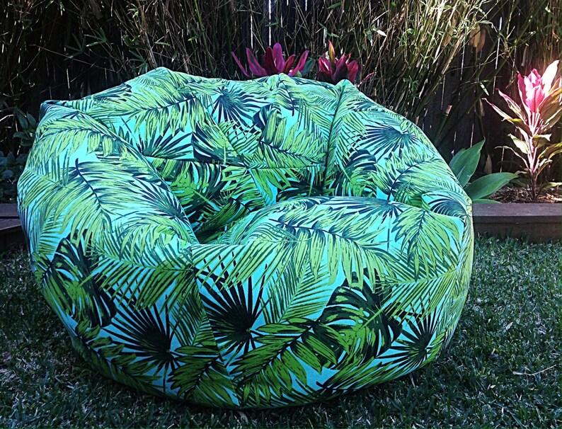 Zitzak Met Banden.Zitzak Voor Buiten Palms Palmbladeren Volwassenen Bean Bag Cover Kids Tropische Outdoor Zitzak Turquoise Tropische Tropen Fronds Zitzak