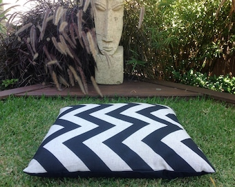 Pet Bed, Dog Cushion Modern Zig Zag Chevron Black & Oatmeal woven texture fabric. Cover Only. Bed For Cats, Dogs