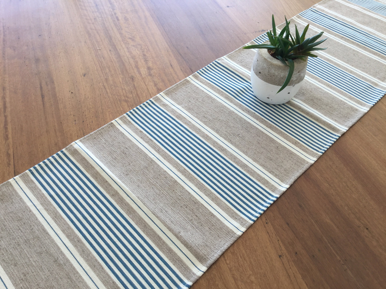 Gentil Table Runner Coastal Style Striped Table Runner, Coastal Beach House Decor.  Blue And Tan.