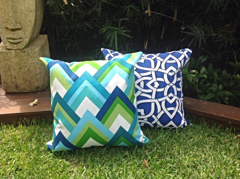 Green Blue Outdoor Cushion Covers Modern Outdoor Pillows Etsy