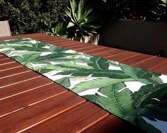 Table Runner Tropical Decor Outdoor Decor, Banana Leaf, Palms Tropical Coastal Decor. Vintage Hawaiian Style. Beach House Decor