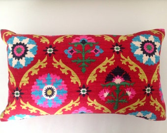 Lumbar Pillow Colourful Bright Medallion & Desert Flower Cushion Cover, Scatter Cushion,  Designer Style. Bedroom Cushions, Lounge Cushions