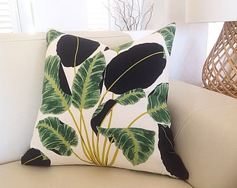 Cushions Tropical Pillow Cover, Tropical Cushion Covers, Palm Leaf Cushions, Designer Scatter Cushion, Black, Ivory, Green Pillow, Palms.