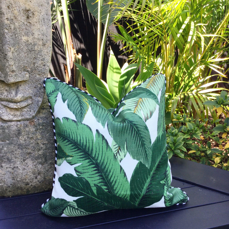 Palm Leaf Cushions Banana Leaf Outdoor Cushion Covers.   Etsy