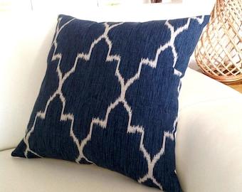 Navy Blue Cushions Navy Pillows Blue Ikat Diamond Monaco Cushion Cover, Decorative Pillows