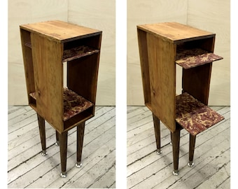 Retrofitted Wine Box End Table Night Stand Bookshelf