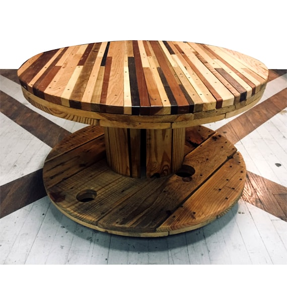 Fine Salvaged Striped Hardwood Rolling Spool Coffee Table Caraccident5 Cool Chair Designs And Ideas Caraccident5Info