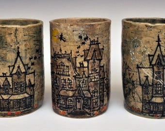 Haunted House Stein, Tumbler or Utensil Cup