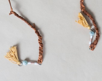 Tassle Leather Choker Necklace W/ Beaded Bottoms