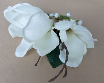 Flower Hair Clip - White and Branchy
