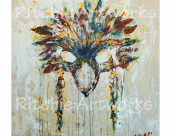 "Print of Native Abstract Acrylic Painting: Nature's Mask 15X15"" - Colour Print 30 in series"