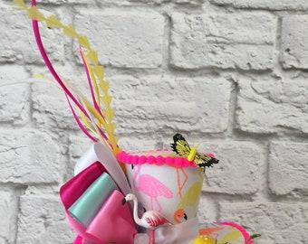 Pink Flamingo Fascinator Mini Top Hat, Alice in Wonderland Top Hat, Mad Hatter Mini Top Hat, Tea Party Top Hat