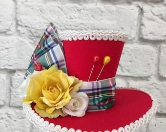 Tartan / Plaid Mini Top Hat, Mad Hatter Mini Top Hat, Red Mini Top Hat