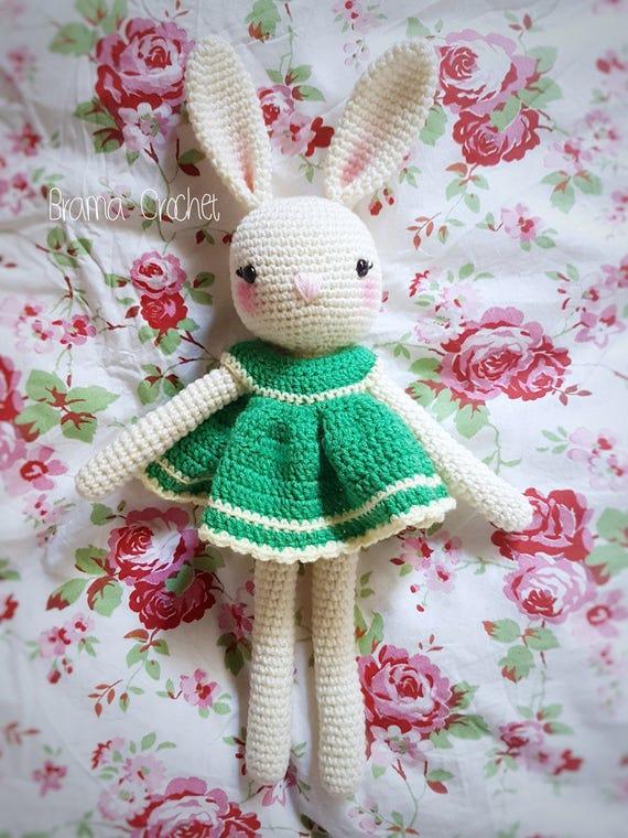 Süßer Hase Mit Kleid Amigurumi Häkeln Puppe Wählen Sie Farbe Etsy