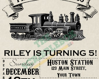 Birthday express, Vintage Train birthday invitation