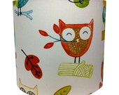 HANDMADE DRUM LAMPSHADE Owl fabric design 20cm