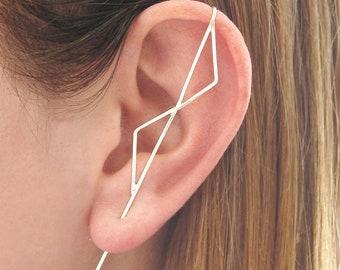 Silver Ear Cuff, Ear Climber, Silver Ear Crawler, Modern Ear Cuff, Triangle Ear Cuff, 925 Silver Earring, Minimal Earring, Dainty Earring