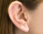 Rose Gold Circular Climber, Rose Gold Ear Cuff, Ear Sweeper, Ear Fashion, 925 Silver, Ear Jackets, Otis Jaxon, Gift for her, Edgy Earring,