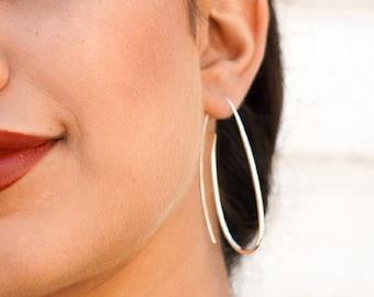 Sterling Silver Paperclip Drop Earrings, Dangly Classic Large Oval Hoop Earrings, Handmade Designer Earrings for Women, Mum Daughter Gift