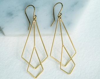 Gold Drop Earrings, Long Earrings, 925 Earrings, Geometric Earrings, Diamond Earrings, Art Deco Dangle Earrings, Wire Earrings