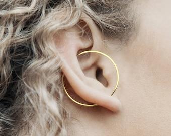 Modern Gold Earring, Gold Ear Cuff, Ear Cuffs, Geometric Earring, Hoop Earrings, Gold Hoop Earrings, Minimalist Earring Set