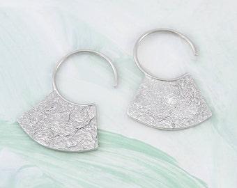 Silver Hoop Earrings, Textured Hoops, Aztec Earrings, Sterling Silver, Tribal Earrings, Small Hoops, Silver Hoops, Ethnic Jewelry, Vintage