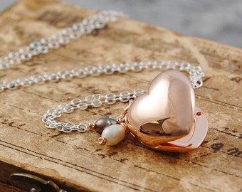 Rose Gold Locket, Heart Locket, Rose Gold Heart, Sterling Silver, Photo Locket, Delicate Locket, Locket With Pearls, Locket Pendant,Necklace