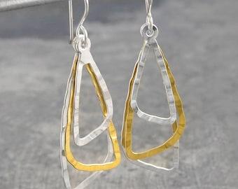 Silver Earrings-Hammered Earrings-Triangle Earrings-Brass Earrings-Drop Earrings-Silver Gold Jewelry-Otis Jaxon-Handmade Earrings-Silver 925