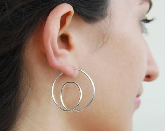 Minimalist geometric STUD \\ PLUG earrings Teal mint green gray Modern dangle studs 0g 00g 4g 6g 8g 12mm plugs and tunnels Best friend gift
