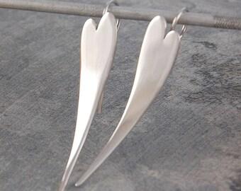 Silver Drop Earrings - Silver Drops - Heart Earrings - Long Drop Earrings - Silver Heart Earrings  - Heart Drop Earrings - Jewelry Set - 925