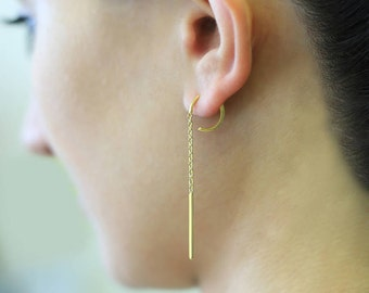 Gold Hoop Earrings, Edgy Earrings, Chain Drop Earrings, Dangle Earrings, Gold Jewelry, Simple Earrings, Statement Earrings, Gift Under 20
