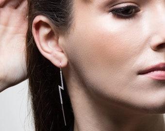 VINTAGE 925 Silver Gemstone long Ear Stud Hook Dangle robe de mariage Boucles d/'oreilles