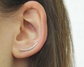 Spike Ear Climbers, Silver Earrings, Curved Earrings, Sterling Silver, Ear Cuffs, Minimal Jewelry, Ear Climbers, Silver, Earrings, Climbers
