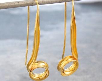 Gold Earrings - Gold Drops - Gold Dangle Earrings - Long Earrings - Unique Earrings - Long Drop Earrings - Organic Earrings - Swirl Earrings