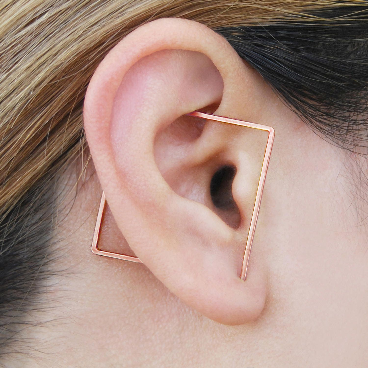 Rose Gold Ear Cuff Square Hoop Earrings Square Ear Cuff   Etsy