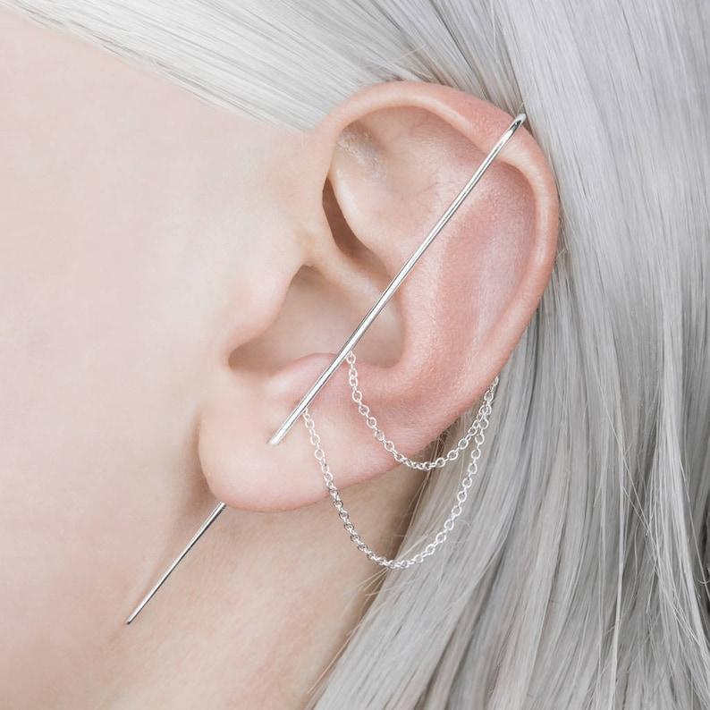 a0c4736c7 Sterling Silver Ear Cuff-Silver Chain Earrings-925 Silver | Etsy