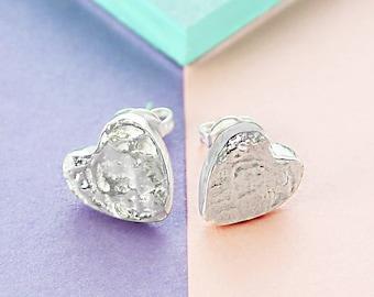Silver Stud Earrings, Heart Earrings, 925 Studs, Cute Earrings, Textured Earrings, Silver Jewelry, Dainty Stud, Gift For Her, Organic Studs