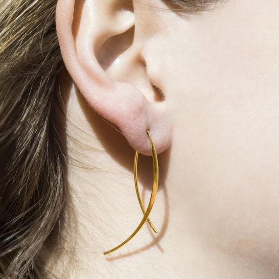 Gold Querlenker Draht Tropfen Ohrringe Moderne Ohrringe Etsy